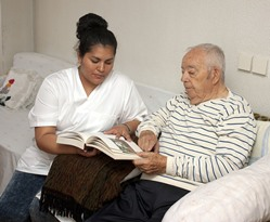 geriatric nurse with elderly patient in Yorba Linda CA